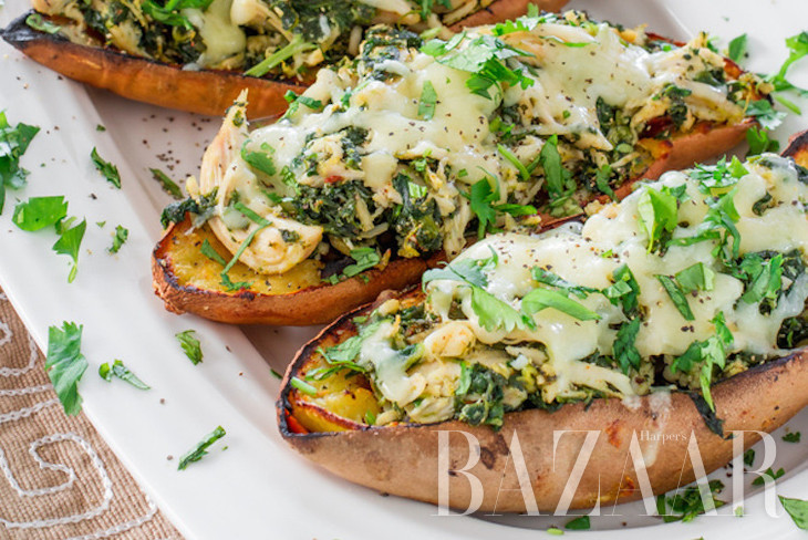 Chipotle Chicken Stuffed Sweet Potato Skins