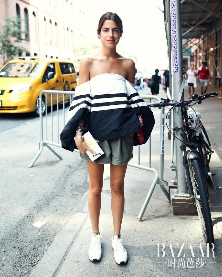 Leandra-Medine-dared-wear-shoulder-baring-high-volume-top