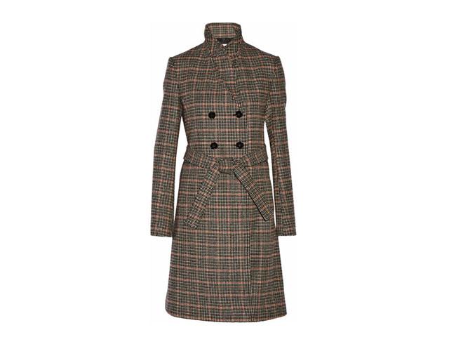 双排扣格纹羊毛外套Victoria Beckham,800(人民币约24,224元)可购于net-a-porter.com