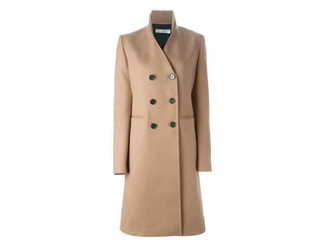 驼色剪羊毛双排扣大衣Victoria Beckham,567(约人民币16,364元)可购于farfetch.com