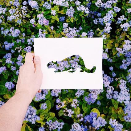 比画出来的还好看,用自然花草填色的动物剪纸画