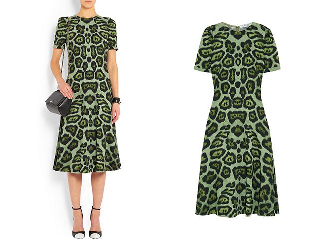 绿色豹纹弹力卡迪面料中长连衣裙 Givenchy