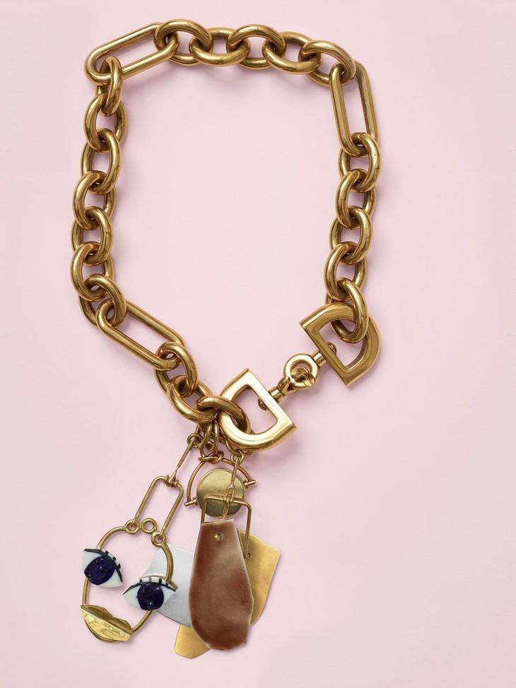 CELINE Patchwork金色双色黄铜和瓷漆陶瓷垂饰项链 CNY 17,000