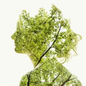 用植物组成唯美人像,多重曝光的魅力