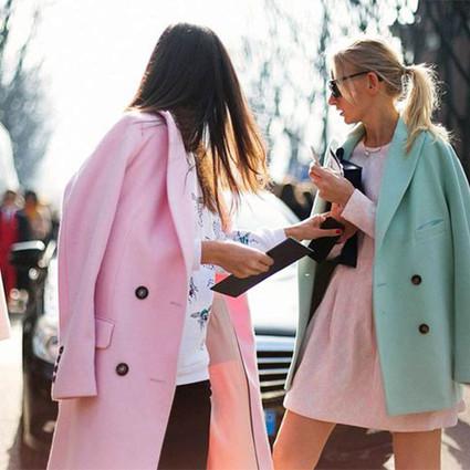 粉水晶大衣怎么穿都好看,冬日里我们也要做时髦可人儿~