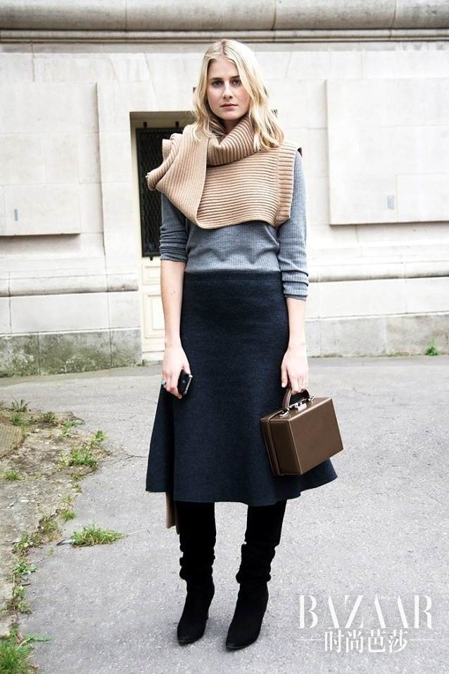 Le-Fashion-Blog-Street-Style-Turtleneck-Sweater-Scarf-Grey-Knit-Mark-Cross-Box-Bag-Flared-Skirt-Suede-Knee-High-Boots-Office-Fall-Winter-Style-Via-Who-What-Wear