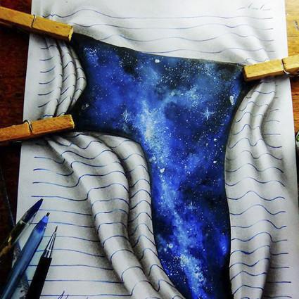 16岁的小孩儿,在笔记本上画出惊人的画作
