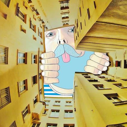 奇思妙想   在楼宇之间的天空画画