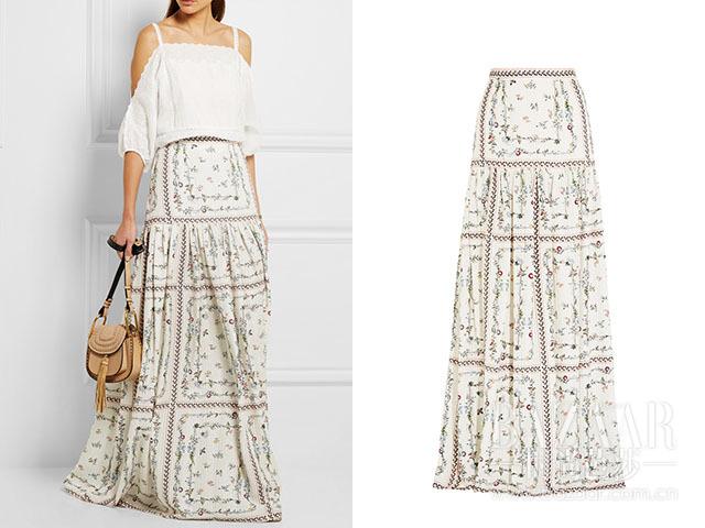 印花真丝提花超长半身裙 Vilshenko