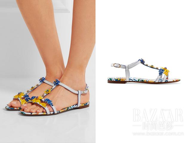 贴花印花纹理皮革凉鞋  Dolce & Gabbana 2
