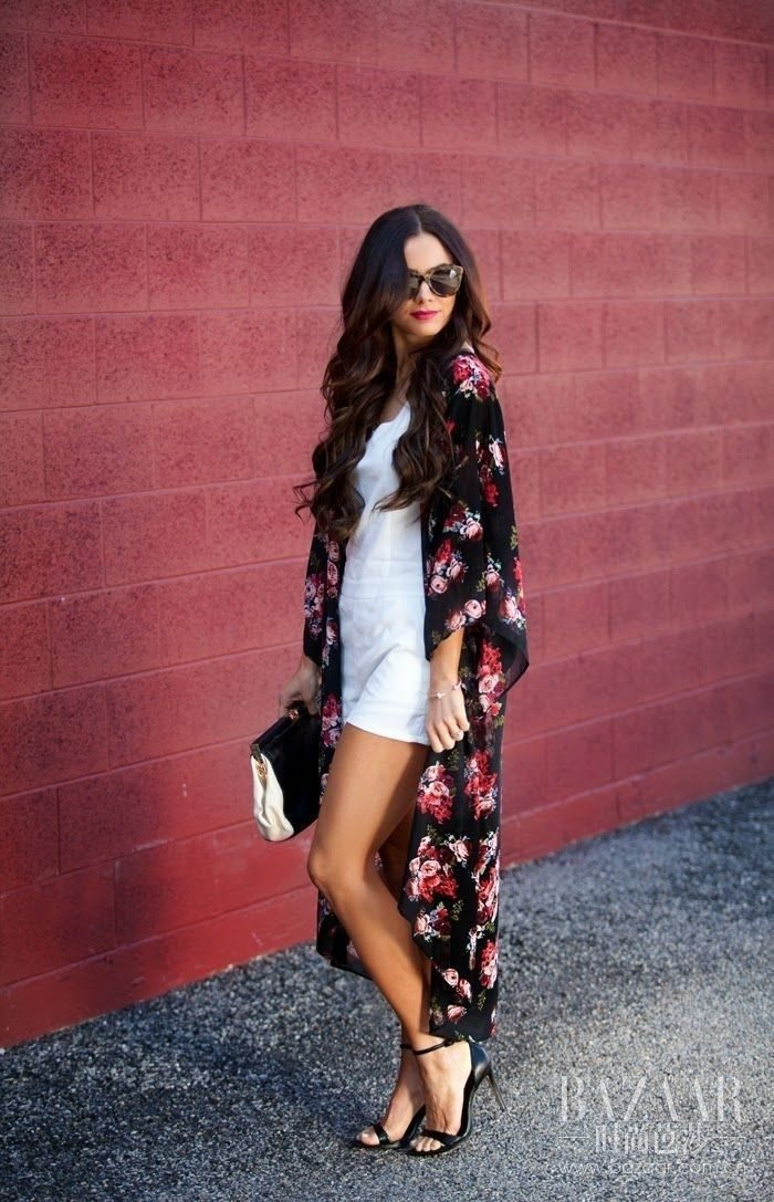 —batchWomen-Ladies-Floral-Open-Cape-Casual-Coat-Loose-Shirt