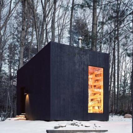 纽约北部的木制小图书馆,整个冬天的蜗居