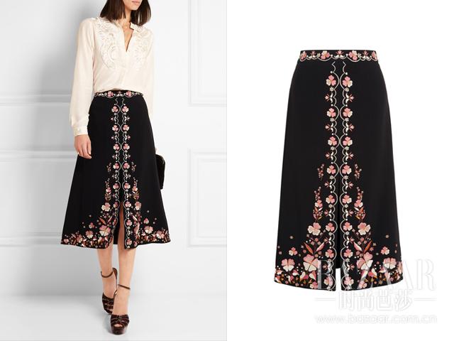 刺绣绉纱半身裙  Vilshenko 约RMB 5768 aa