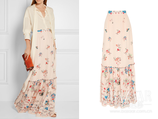 花卉印花真丝双绉超长半身裙  Vilshenko 约RMB 6985 aa