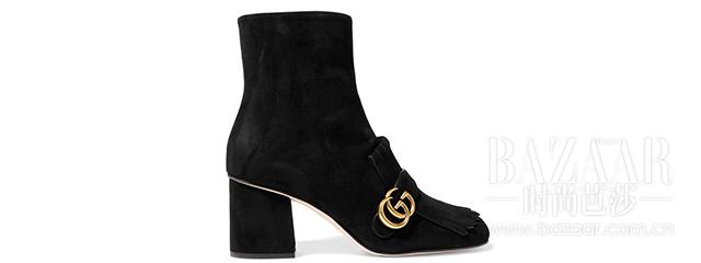 流苏绒面革踝靴 Gucci