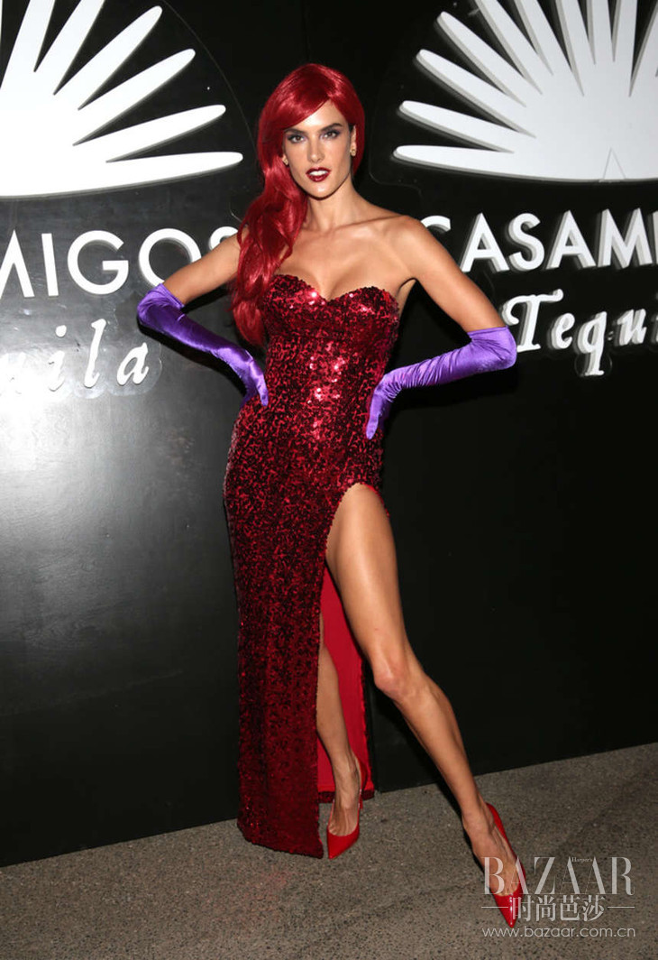 Alessandra Ambrosio – 2016 Casamigos Tequila Halloween Party in Beverly Jessica Rabbit. Hills