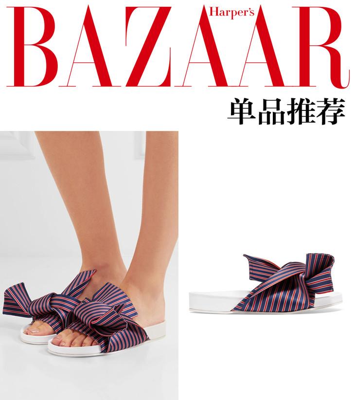 结饰条纹缎布拖鞋