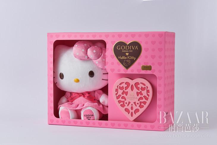 2017歌帝梵限量版凯蒂猫公仔连心形随享巧克力礼盒8颗装