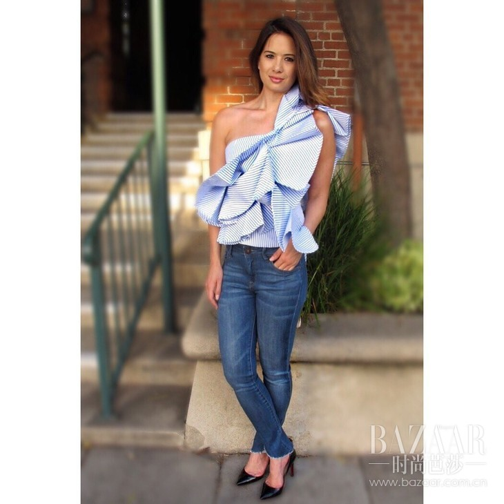 8eec0c83a6a5cd CHIC IN THE CITY RUFFLED OFF THE SHOULDER TOP - PINSTRIPED BLUE BY  STYLEKEEPERS