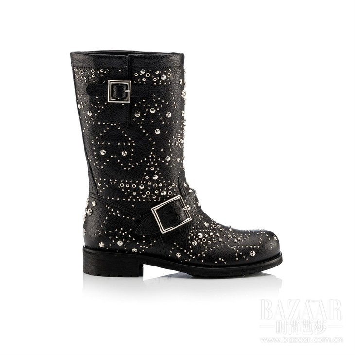 BIKER - LEATHER WGRAPHIC STAR STUDDED EMBELLISHMENT - BLACK