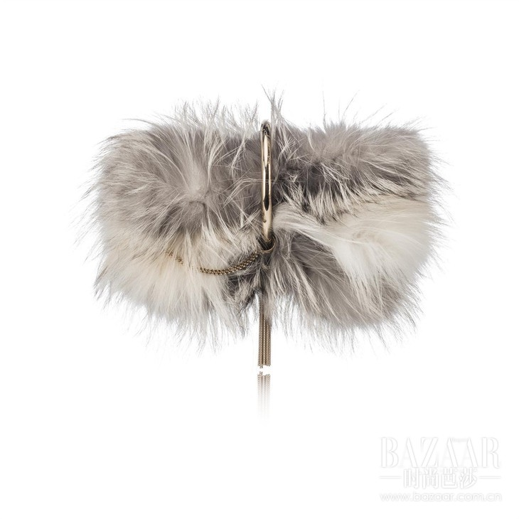 CHARLEY-METALLIC TIPPED FOX FUR -MOONSTONE