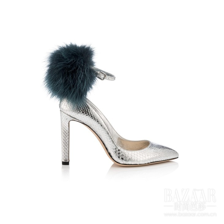 SOUTH 100 - PYTHON WFOX FUR - SILVER BOTTLE GREEN