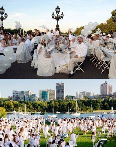上下:全白户外野餐形式