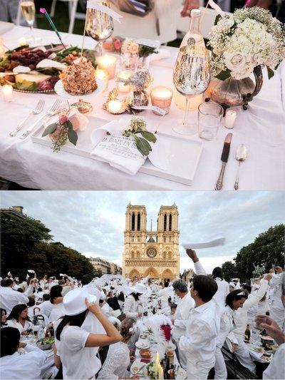 上:嘉宾除了自带食物,还需要带桌面装饰品,彰显不同的品味。下:全体摇餐巾纸,是表示友好和平的一种传统的沿袭