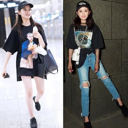 欧阳娜娜和杨幂的黑T恤不是随便穿,摇滚纪念T恤让她们酷得起飞!