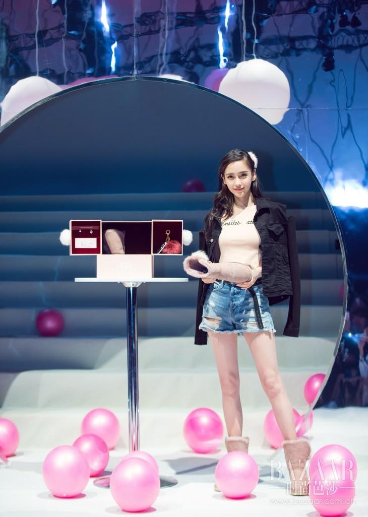 格式工厂杨颖Angelababy亮相UGG蓬蓬球系列发布会