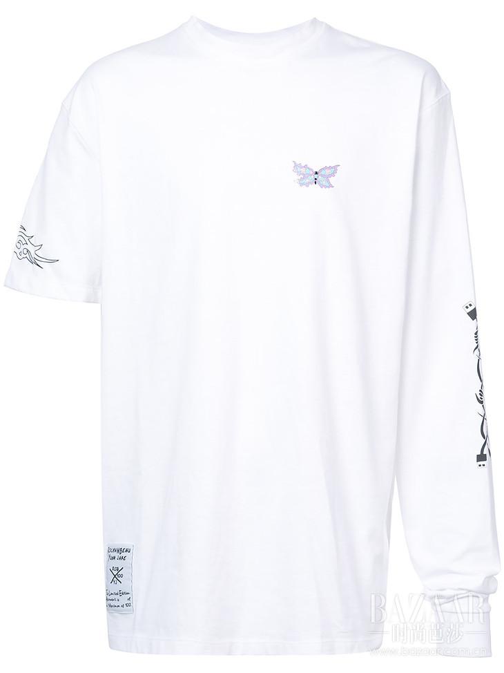 ROCHAMBEAU exclusive Butterfly asymmetrical sleeve t-shirt at Farfetch