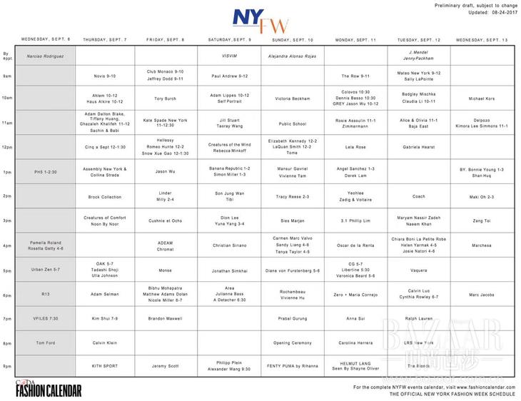 fashion calendar