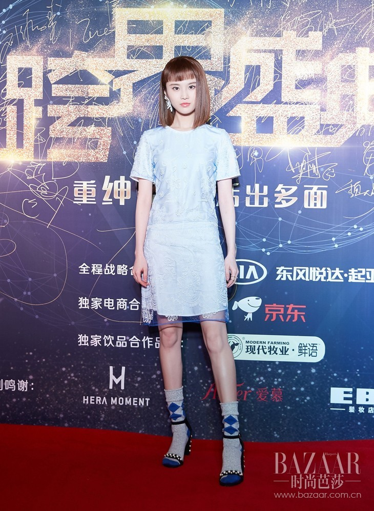 Actress Zhang Huiwei wearing Burberry Short-sleeve Embroidered Tulle T-shirt Dress at 2017 Fashion 163.com Awards in Beijing Nov 6th,2017