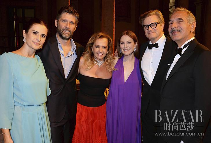 Livia Firth, Bart Freundlich, Caroline Scheufele, Julianne Moore, Colin Firth & Carlo Capasa