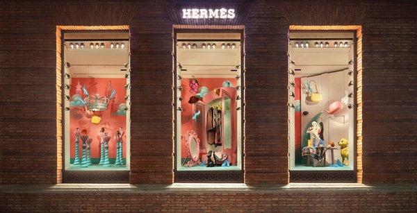 上海爱马仕之家冬季主题橱窗《玩家》由中国新锐艺术家和策展人陆平原先生创