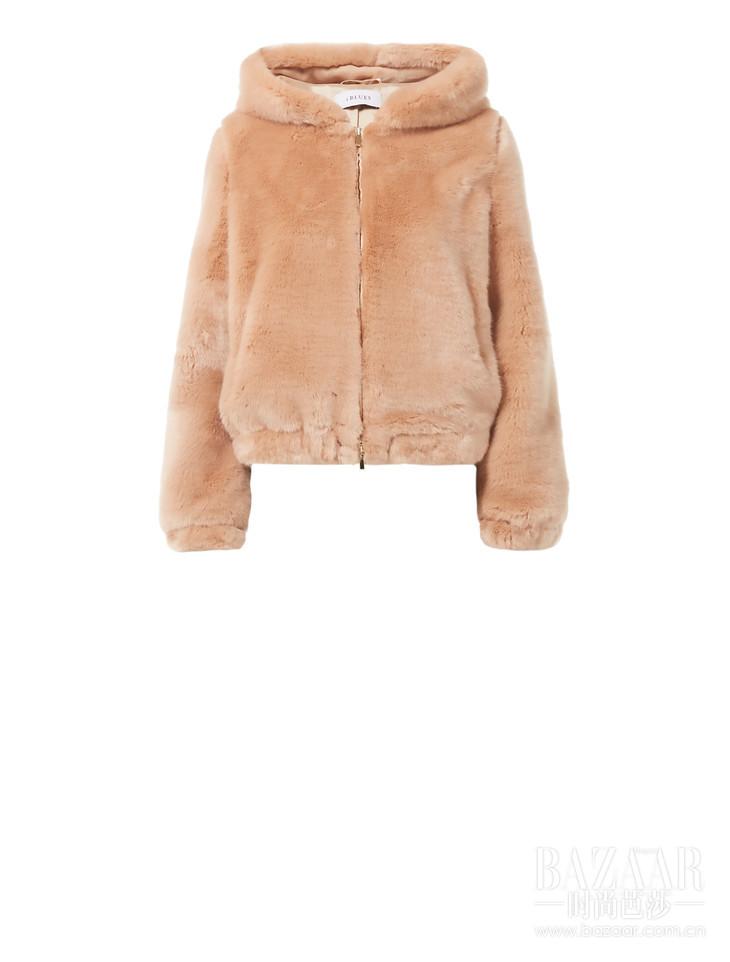 iBLUES粉色皮草外套
