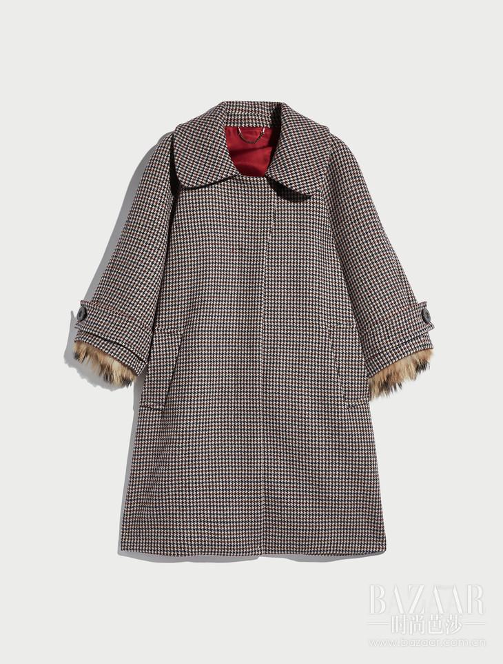Max&Co.袖口饰皮草外套