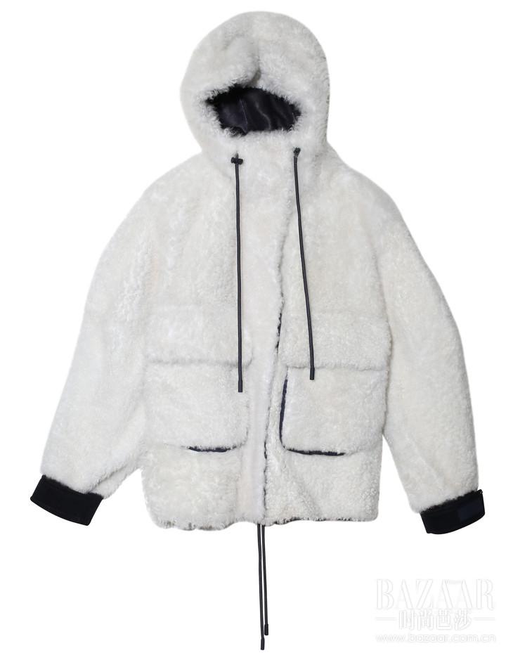 SPRTMAX白色运动款皮草外套