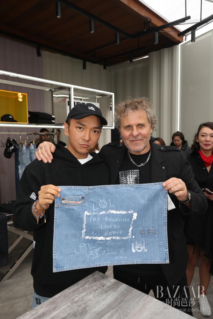 Diesel品牌创始人Renzo Rosso与著名设计师周翔宇现场体验丹宁定制 2