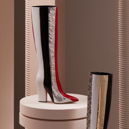 Sergio Rossi SERGIO系列推出全新条纹拼接单品