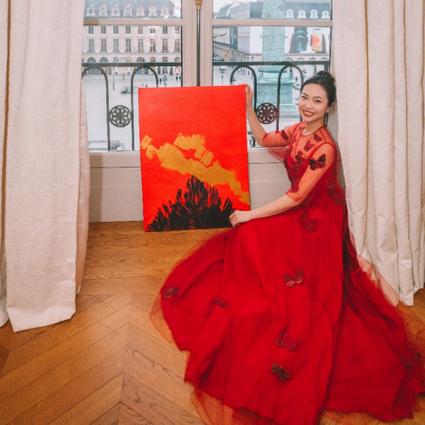 陈晨宝蕴成功举办巴黎画展,三米画轴惊艳海外