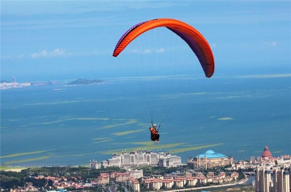 A person parasailing on a parachuteDescription automatically generated with low confidence